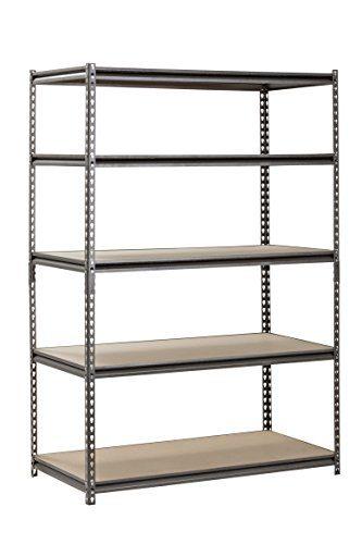 Muscle Rack Silver Vein Steel Storage Rack, 5 Adjustable Shelves
