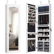 CHARMAID 5 LEDs Jewelry Armoire Wall Mounted/Door Hanging Mirror