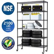 6 Tier Storage Shelves Metal Wire Shelving Unit Height Adjustable NSF Heavy Duty