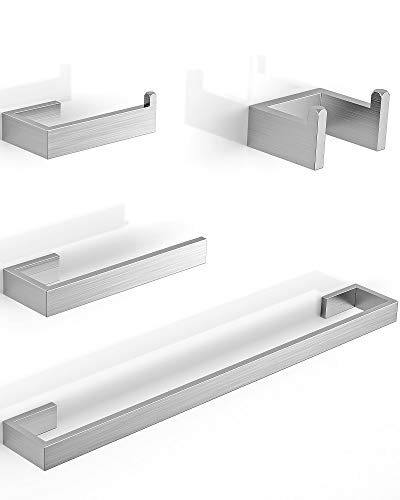 LuckIn 24 Inch 4-Piece Brushed Nickel Bathroom Hardware Accessories