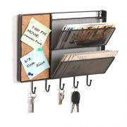 MyGift 12-Inch Black Mesh Metal Wall Mounted Storage Rack/Hanging Mail Sorter w/Cork Board & 5 Key Hooks