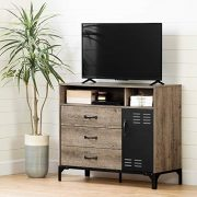 South Shore Valet Tv Stand-Weathered Oak and Matte Black