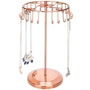 MyGift 14-Inch Copper-Tone Scrollwork 24 Hook Necklace Tower with Rotating Carousel