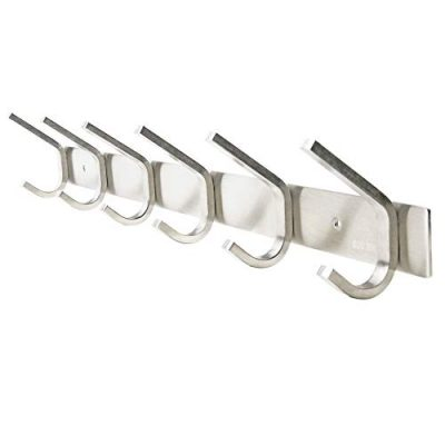 WEBI Heavy Duty SUS Coat Bath Towel Hook Hanger Rail Bar with 6 Hooks