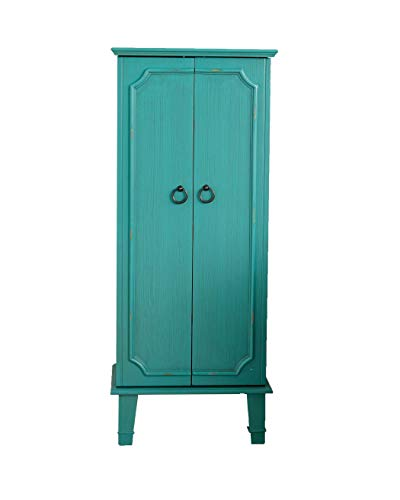 Alveare Home Cassidy Fully Locking Jewelry Armoire, Turquoise