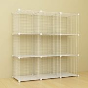 SIMPDIY Storage Rack with Metal Wire Mesh 9 Cubes Bookshelf