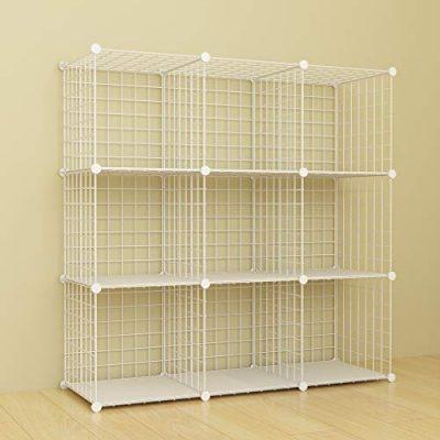 SIMPDIY Storage Rack with Metal Wire Mesh 9 Cubes Bookshelf