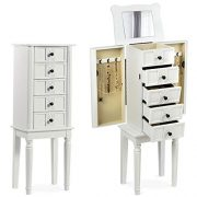 CHARMAID Standing Jewelry Cabinet Armoire with Top Flip Makeup Mirror