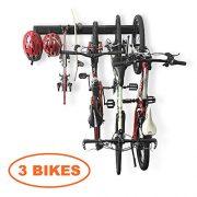 Bike Storage Rack Garage Hooks System Holds 3 Bicycles Wall Mount