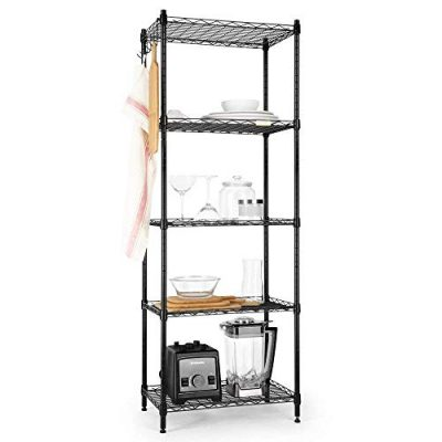 Cozzine 5 Tier Storage Shelves, Adjustable Storage Shelves Heavy Duty Steel