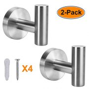XIPOO 2 Pack Bathroom Towel Hook, Coat Hooks for Hanging Up to 25lbs