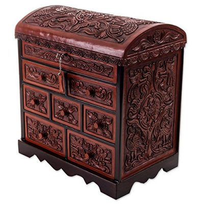 NOVICA Bird Theme Brown Tooled Leather Jewelry Box Chest with Drawers, Formidable Falcon'