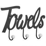 MyGift Black Metal Towels Design Wall Mounted 3-Hook Towel Hanger Rack