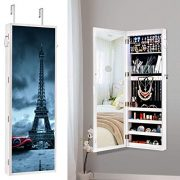 Lockable Jewelry Cabinet Wall/Door mounted,8 LED Jewelry Armoire