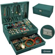 QBeel Jewelry Box for Women, Double Layers 53 Compartments Necklace