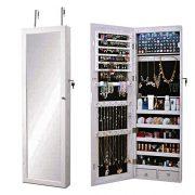 sogesfurniture Lockable Floor Standing Wooden Jewelry Cabinet Mirror Cabinet
