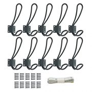 10 Pack Rustic Coat Hooks with 50Pcs Metal Screws, Black Vintage Wall Mounted