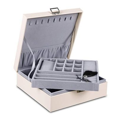 misaya Women Jewelry Box Organizer 2 Layer Large Lockable Display Jewelry Holder
