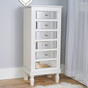 Hives & Honey Amy White Mirrored Jewelry Armoire Jewelry Stand