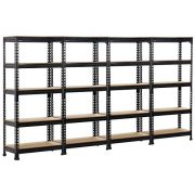 Topeakmart 4 Pack 5 Tier Shelving Unit and Storage Shelves Rack Heavy Duty Shelving Garage, 59.1H x 27W x12D inch