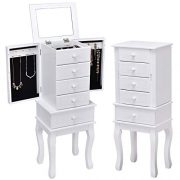 Giantex Jewelry Cabinet Armoire with 5 Drawers, Storage Chest Stand Large Bottom
