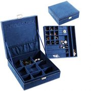 PENGKE 2 Layer Jewelry Box for Women 36 Grid Necklace or Jewelry Holder Organizer with Lock,Blue Pack of 1