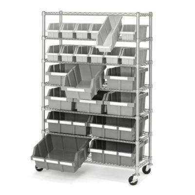 Commercial Garage Rolling 22 Bin Storage Rack Steel Frame Shelving Unit