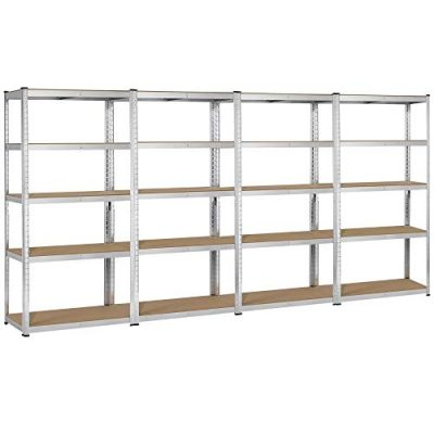 Topeakmart Silver Adjustable 5 Tier Commercial Industrial Racking Garage Shelving