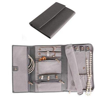 CASE ELEGANCE Saffiano Leather Travel Jewelry Case - Jewelry Organizer