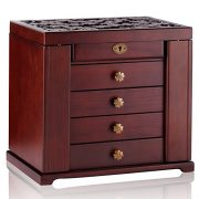 Rowling Extra Large Wooden Jewelry Box/Jewel Case Cabinet Armoire Ring Necklacel Gift Storage Box Organizer Mg002 (Brown-2)
