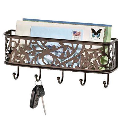 mDesign Wall Mount Metal Entryway Storage Organizer Mail Sorter Basket
