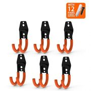CoolYeah Steel Garage Storage Utility Double Hooks, Heavy Duty for Organizing Power Tools, Small J Hooks(Pack of 6, 4.7 × 1.9 × 2.5 inches)