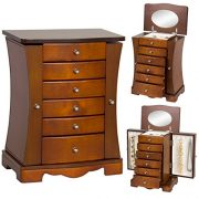 Best Choice Products Wooden Handcrafted Jewelry Box Organizer Armoire Cabinet