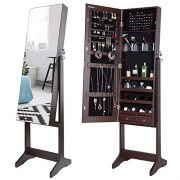 Nicetree Jewelry Cabinet with Full-Length Mirror, Standing Lockable Jewelry