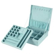 Jewelry Box, 2 Layers Lint Jewelry Organizer Case for Necklace, Earrings