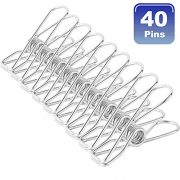 NORTHERN BROTHERS Clothes pins 40 Pack,2 Inch Multi-Purpose Stainless Steel Wire,Cord Clothes Pins Utility Clips,Hooks for Home/Office