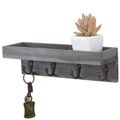 MyGift Vintage Grey Wood Wall Mounted Entryway Shelf with 4 Antique Metal