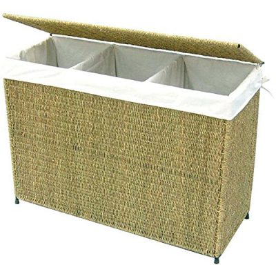 Woven Seagrass Full-load Home Laundry Hamper with Three Compartment