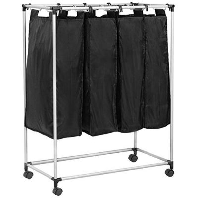 4 Laundry Sorter with Baskets Large Laundry Hamper Sorter Canvas Rolling