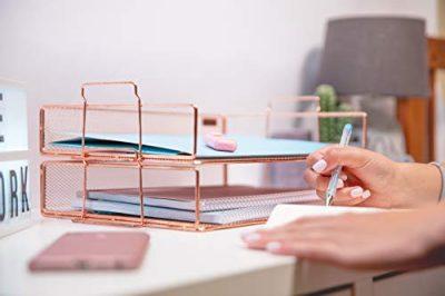 Rosework Rose Gold 2 Tier Letter Tray Desk Organizer for Women