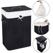 Humany 72L Bamboo Laundry Hamper with Lid and Removable Liners, Dirty Clothes Hamper Large Size with Leather Handles (Black)