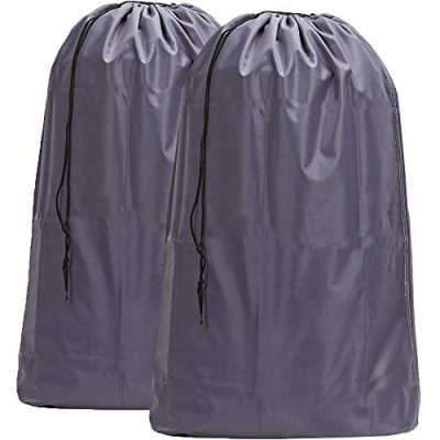 HOMEST 2 Pack Large Nylon Laundry Bag, Machine Washable Large Dirty Clothes Organizer, Easy Fit a Laundry Hamper or Basket, Can Carry Up to 4 Loads of Laundry, Grey