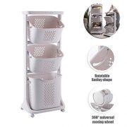 Multipurpose Sorter Basket ,3-Tier Laundry Basket with Wheel Rolling Laundry Sorter Hamper for Kitchen Bedroom Baedroom Bathroom ,Tier Basket Stand with 6 Side Hooks Storage Shelf