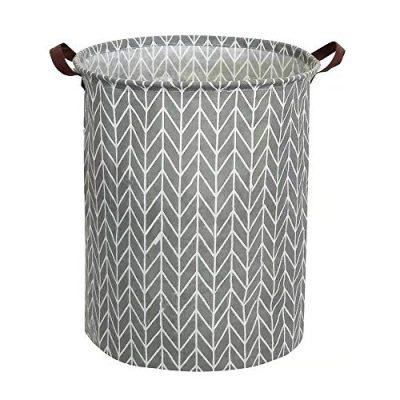 Tsingree Collapsible Laundry Hamper, Round Cotton Linen Laundry Basket, Large Storage Bin for Nursery Hamper and Kids Room (Grey Geometry)