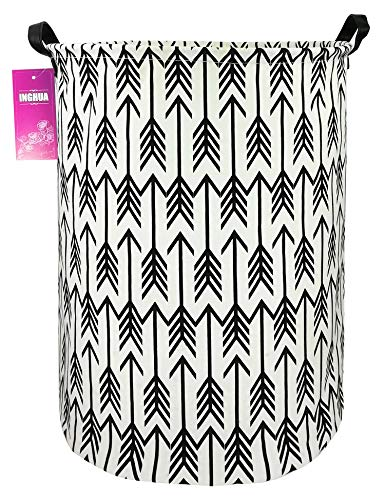 INGHUA Large Canvas Fabric Lightweight Storage Basket/Toy Organizer/Dirty Clothes Collapsible Waterproof for College Dorms, Kids Bedroom,Bathroom,Laundry Hamper(Arrow)