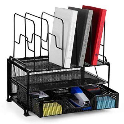Bextsware 2-Tier Mesh Desktop Organizer File Folder with Sliding Drawer