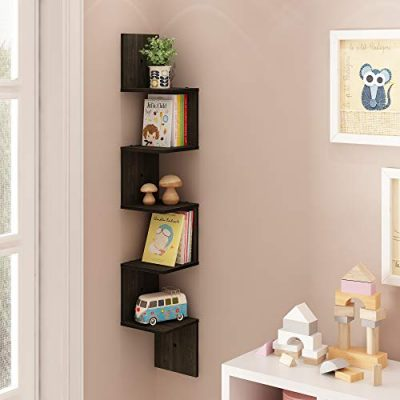 FURINNO 5 Tier Wall Mount Floating Corner Square Shelf