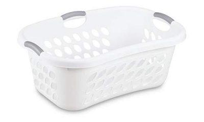 Hip Hold Plastci Laundry Basket, White with Titanium Handles