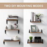 Veken Floating Shelves Wall Mounted Set of 3, Rustic Wood Wall Decor Storage