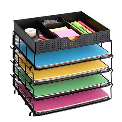 CAXXA 4 Tier Stackable Mesh Letter Tray Desktop Organizer with Adjustable Drawer